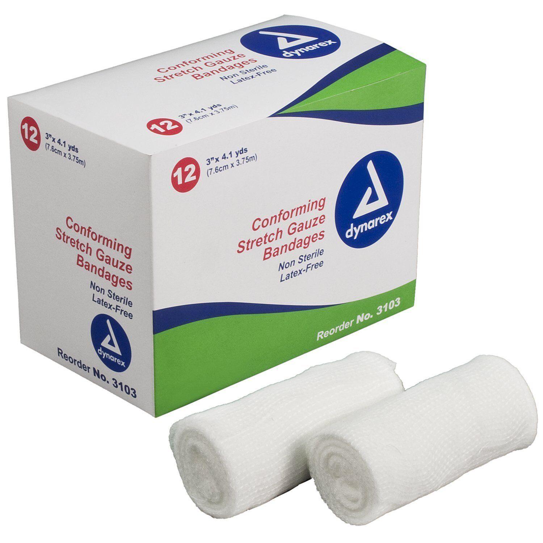 Dynarex Stretch Gauze Bandage Roll, Non-Sterile, 3