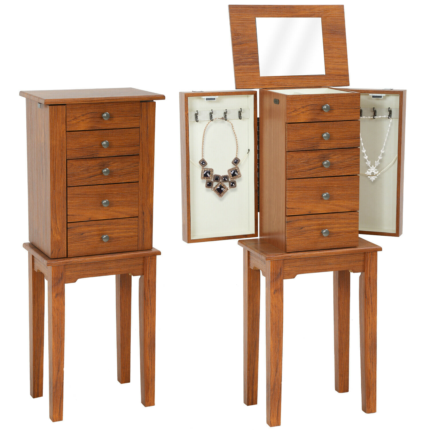Standing Jewelry Cabinet Armoire 5 Drawers 2 Side Doors And 8 Necklace Hooks Jewelry & Watches