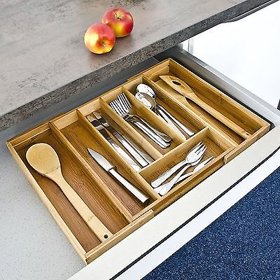Bamboo Wooden Extending Cutlery Tray Organiser Expandable Drawer Storage Box