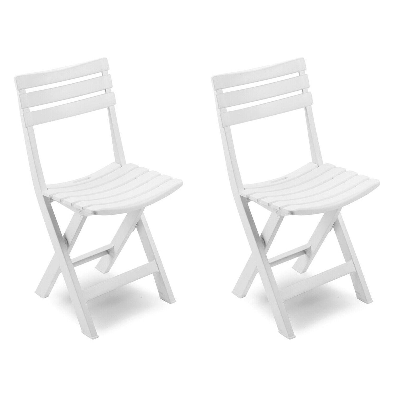 2 Stück Mojawo Klappsessel Weiß Klappstuhl Campingstuhl Gartenstuhl Kunststoff