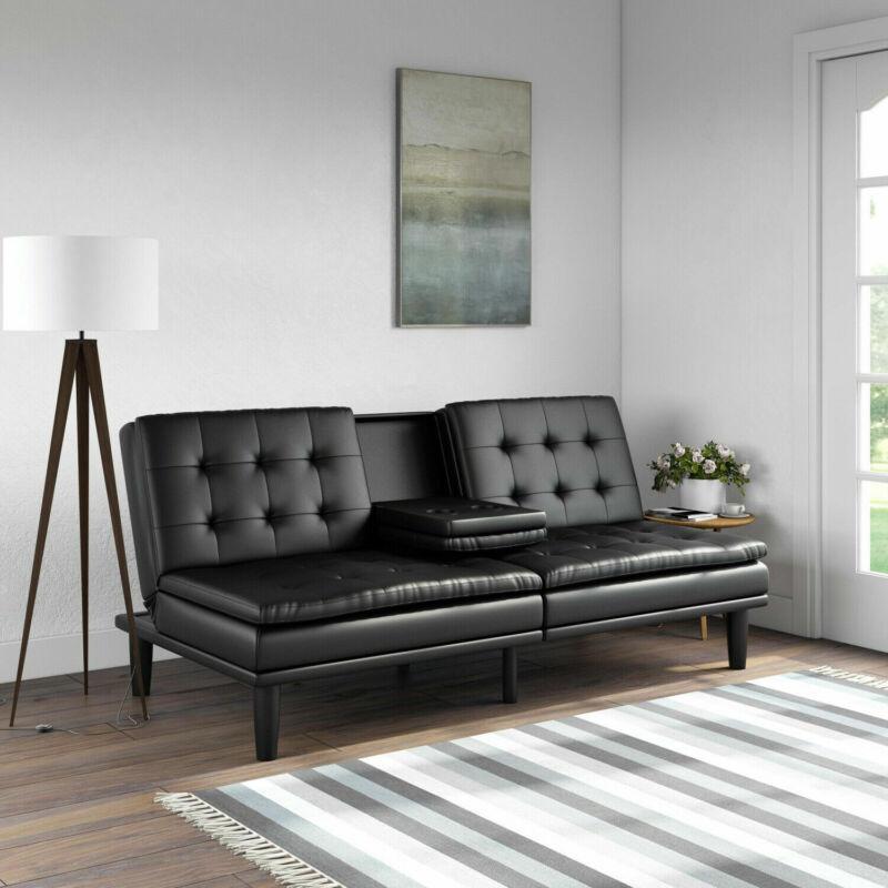 Futon Sofa Bed Memory Foam Pillowtop W/ Cupholder Black Dark