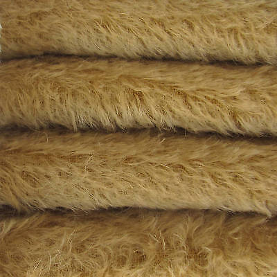 """1/4 yd 300S/C Camel INTERCAL 1/2"""" Ultra-Sparse Curly S-Finish Mohair Fur Fabric"""