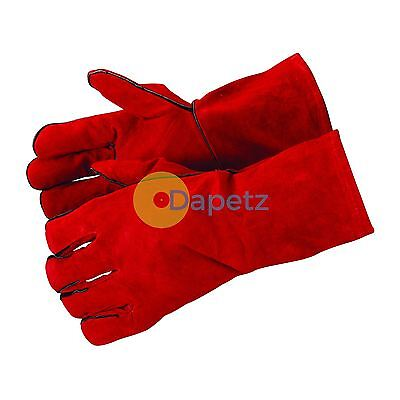 Leather Welders Gauntlets Heat Resistant Long Gloves - Stove Oven Wood Burning