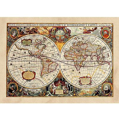 Poster Antica Mappa 1646 Mondo World Cartina Geografica Mondo - ARREDAMENTO