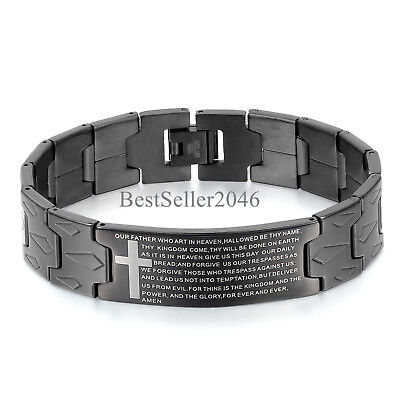 Prayer Bracelets (Black English Lords Prayer Our Father Cross Stainless Steel Mens Bracelet)