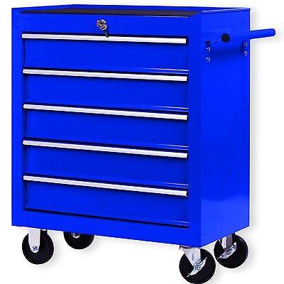 Masko® Werkstattwagen Rollwagen Werkzeugwagen Werkzeugkiste 5 Fächer Blau