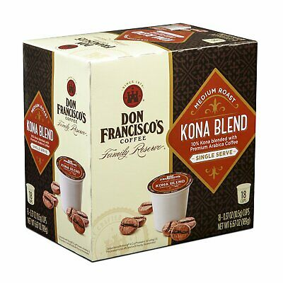 Don Francisco's Kona Blend Coffee 18 to 144 Keurig Kcups Pick Any Size Free -