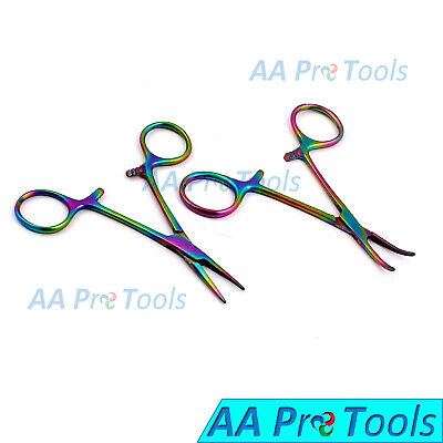 3 12 Multi-color Mosquito Hemostat Forceps 3.5 Straight Curved Pack Of 2