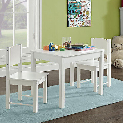 Kid's Table and 2 chairs Set Unrelieved Hard Wood sturdy child table and chairs White