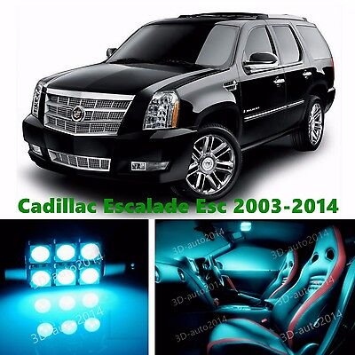 18pcs LED ICE Blue Light Interior Package Kit for Cadillac Escalade ESV 2014