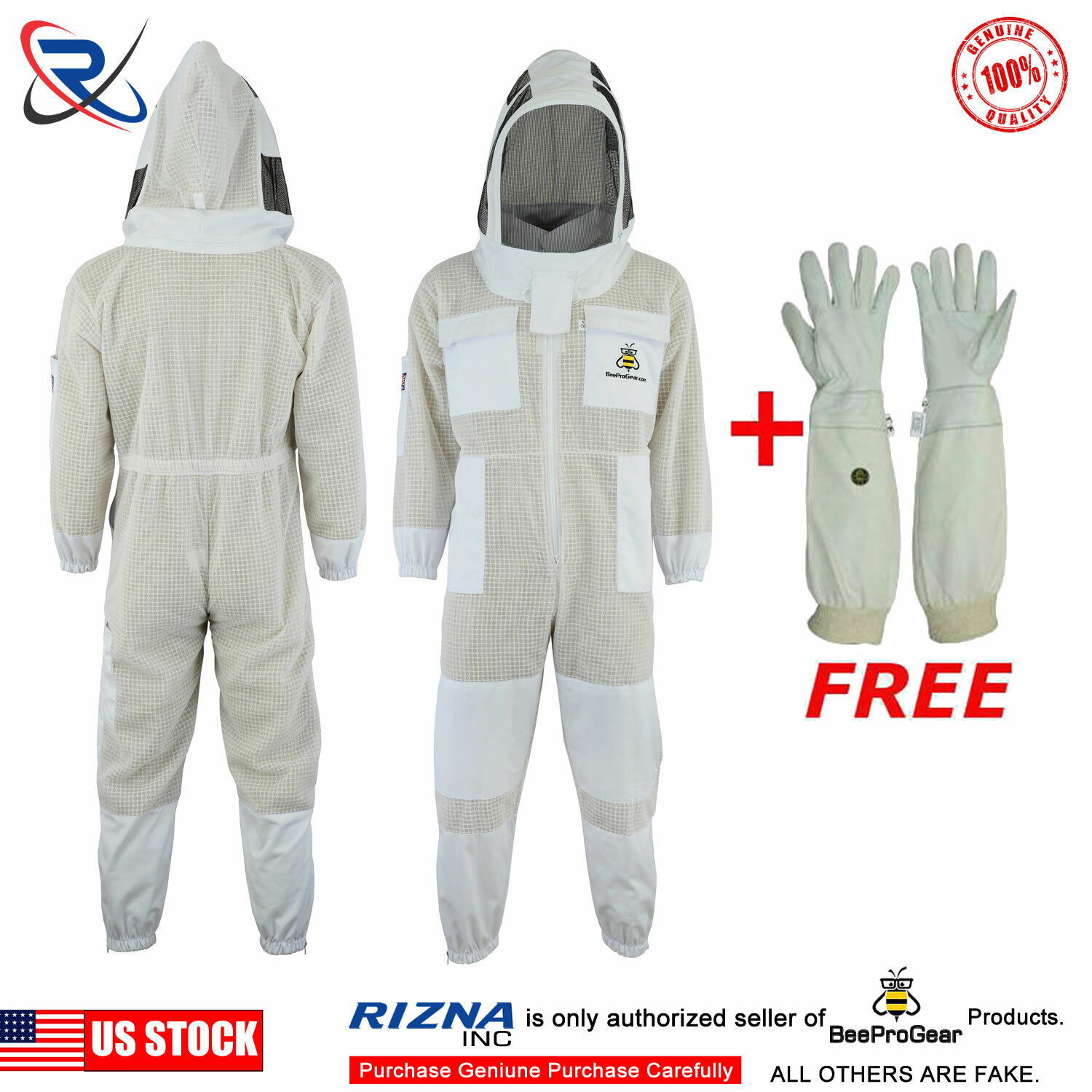 Bee Sting Safety 3 Layer beekeeping full Suit ventilated fencing Veil L