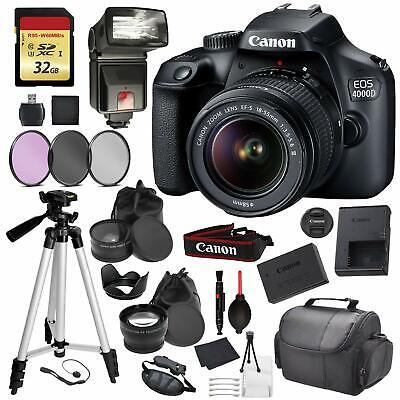 Canon EOS Rebel 4000D Digital SLR Camera +EF-S 18-55mm f/3.5-5.6 DC III Lens Kit