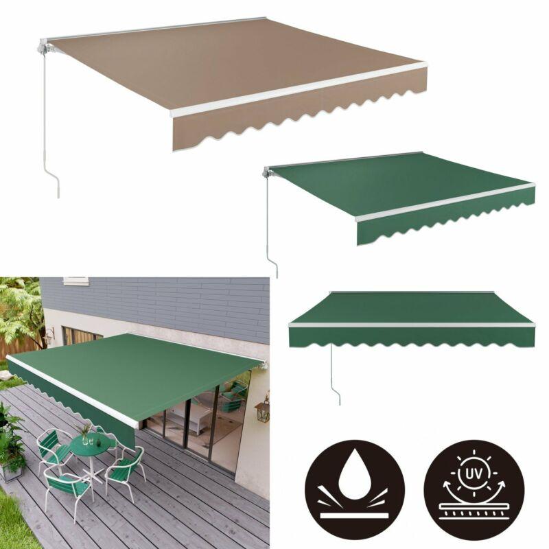 Retractable Manual Patio Awning Canopy Cover Deck Door Cafe Backyard Sunshade US