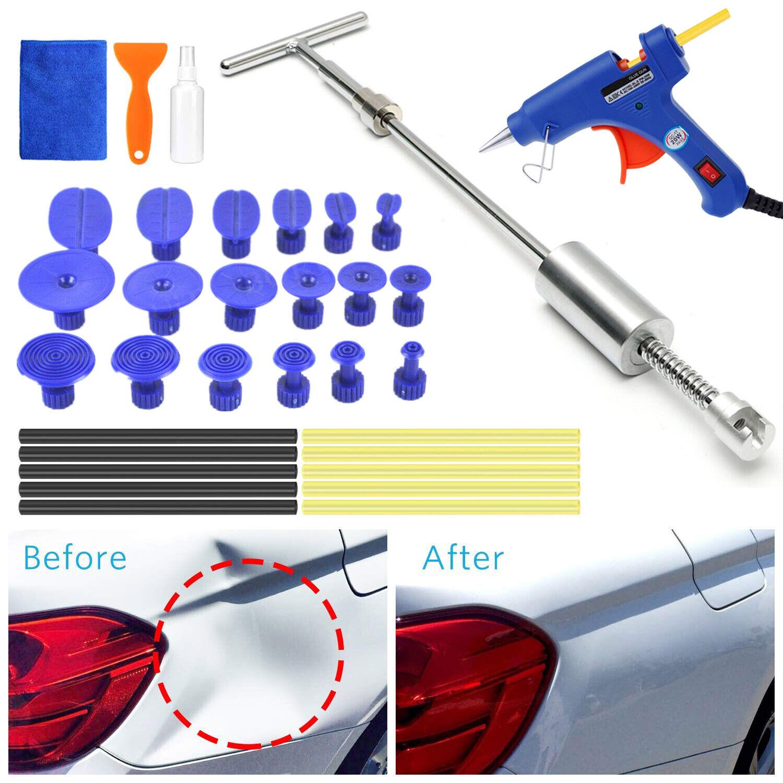 Auto Car Paintless Dent Repair Kits Slide Hammer T-Bar Glue Puller 24pcs tabs