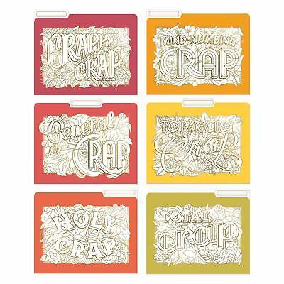 Knock Knock Decorative Coloring File Folders Crappy Crap Set Of 6