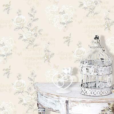 Coloroll - Cream Champagne Shabby Chic Music Birds Flowers Feature Wallpaper
