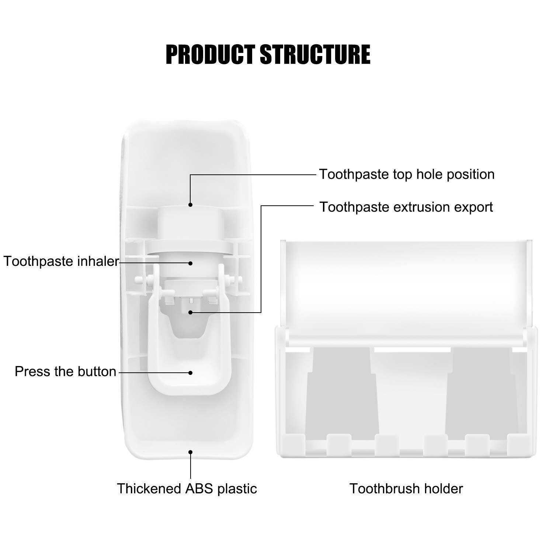 Toothpaste Dispenser+5 Electric Toothbrush Brush Heads Holder Tube Squeezer Set Bath