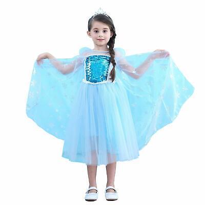 Cinderella Costumes For Teens (Elsa Princess Dress Short Sleeves for Girls Cinderella Costume Party)