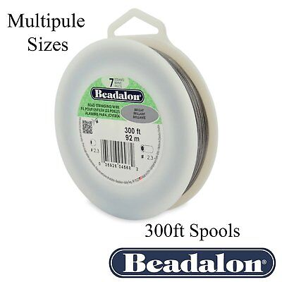 Beadalon BRIGHT Bead Stringing Wire 7 Strand Flex Wire 300ft -Multiple Diameters (Beadalon Bead Stringing Wire)