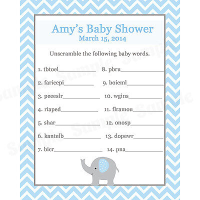 24 Baby Shower Word Scramble Game Cards  - Elephant Design in BLUE