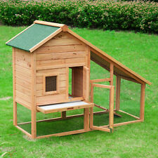"""PawHut 58"""" Rabbit Hutch Chicken Coop Wooden Poultry Hen House Pet Cage With Run"""