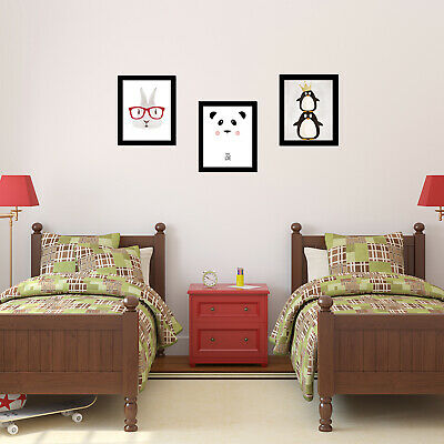 Walplus Children Carton Panda Penguin and Rabbit Framed Art Wall Home Decoration