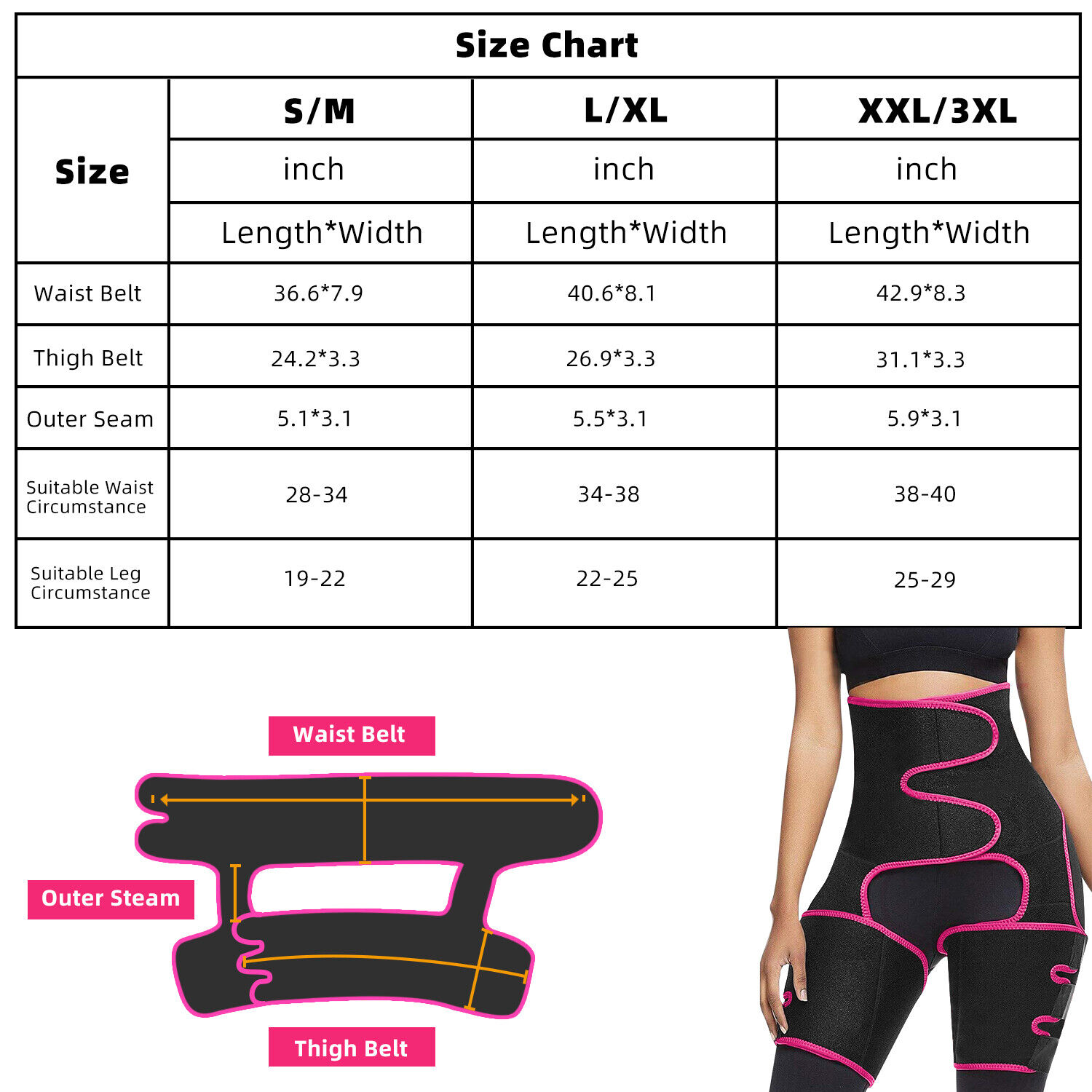 4 in1 Thigh Trimmer High Waist Trainer Body Shaper Butt Lifter Fitness Burn Belt Clothing, Shoes & Accessories