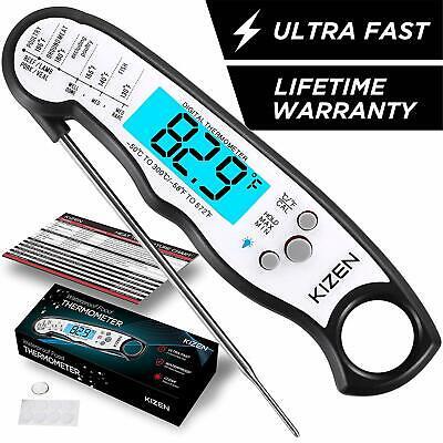 Kizen Instant Read Meat Thermometer - Best Waterproof Ultra Fast