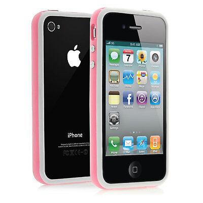 Apple iPhone 4 4s Bumper Silikon Schutz Hülle Case Cover Tasche - weiß rosa pink ()