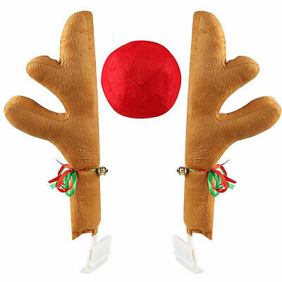 Reindeer For Cars (Rudolph Car Costume Christmas Reindeer Antlers & Red Nose for Truck SUV)