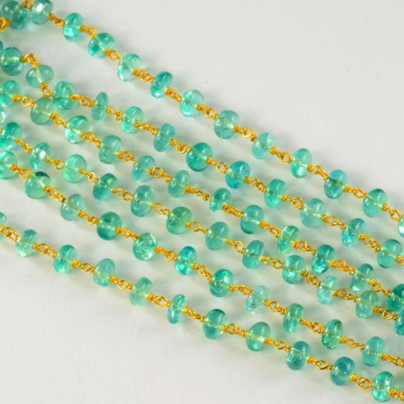 6MM 18K Gold Vermeil Caribbean Ocean Blue Apatite Gemstone Chain By The FOOT