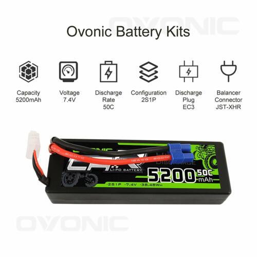 Ovonic 5200mAh 7.4V 2S 50C Lipo Battery Hardcase EC3 Plug Fo