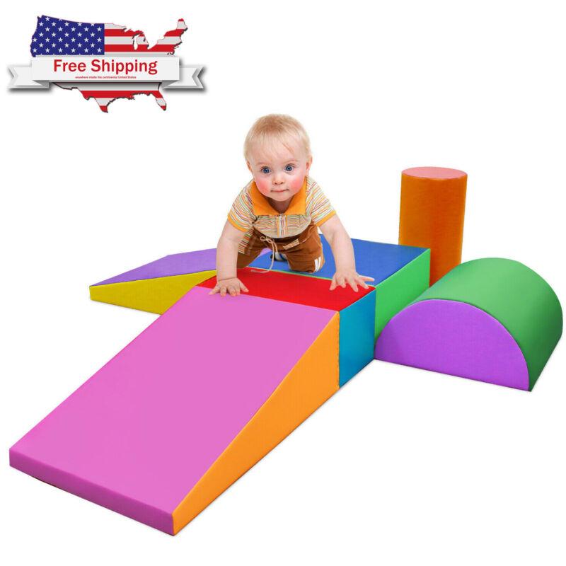 6-Pcs Climb and Crawl Activity Play Set Safe Sponge Foam Blocks Soft Climber