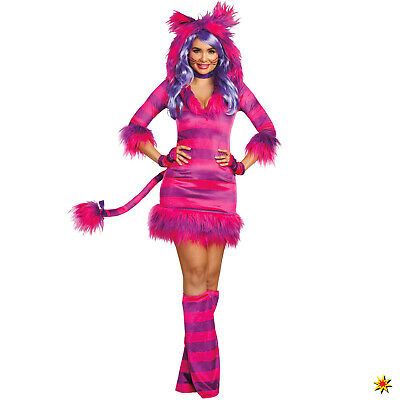 Damen Kostüm Grinsekatze Gr. S-XL Alice im Wunderland Tier Katze (Land Katze Kostüm)