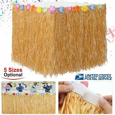 Tiki Bar Party Supplies (Natural Grass Hibiscus Table Skirt Luau Tiki Bar Beach BIRTHDAY Party)