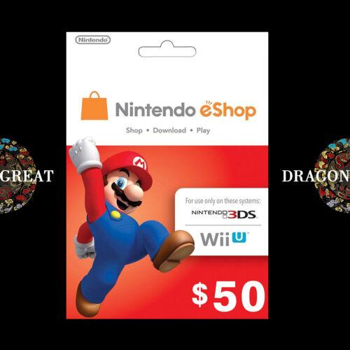 $50 eShop Digital Key - Nintendo $50 USD - Switch/3DS/WiiU - US Gift Card [US]