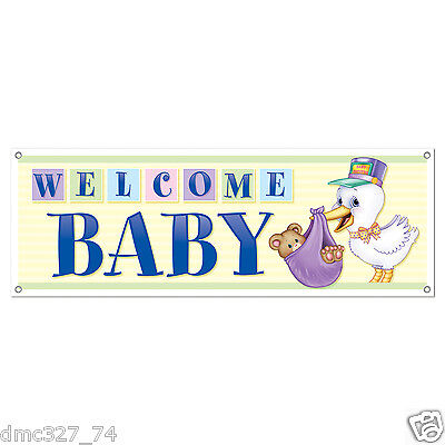 1 BABY SHOWER Party Decoration Prop WELCOME BABY Stork SIGN BANNER 60
