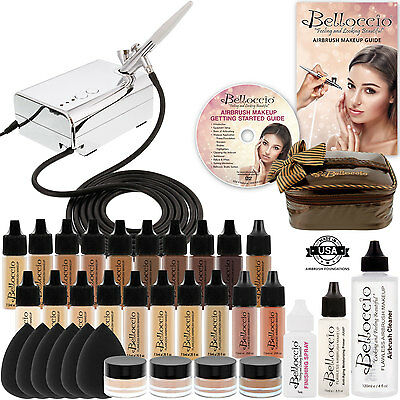 17 Foundation Shades Belloccio Professional AIRBRUSH COSMETIC MAKEUP SYSTEM Kit