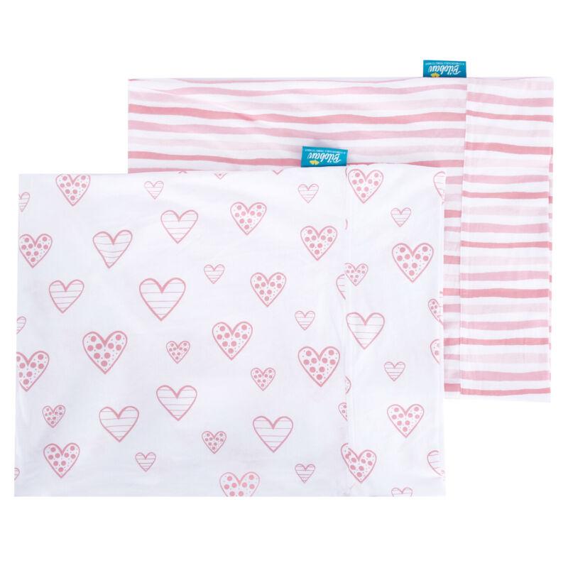 "Toddler Kid Pillowcase Envelope Style 100% Cotton 13""X18"" 14""X19"" 2 Pack Pink"