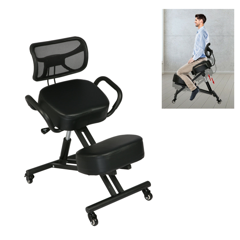 VILOBOS Ergonomic Kneeling Chair Adjustable Home Office Stool Seat w/ Wheels New