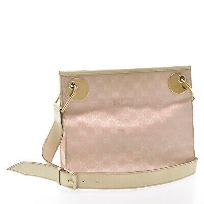 GUCCI GG Canvas Shoulder Bag Pink Auth kh303