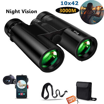 10x42 Day/Night HD Compact Zoom Binoculars with 21mm Large View for Adults Kids