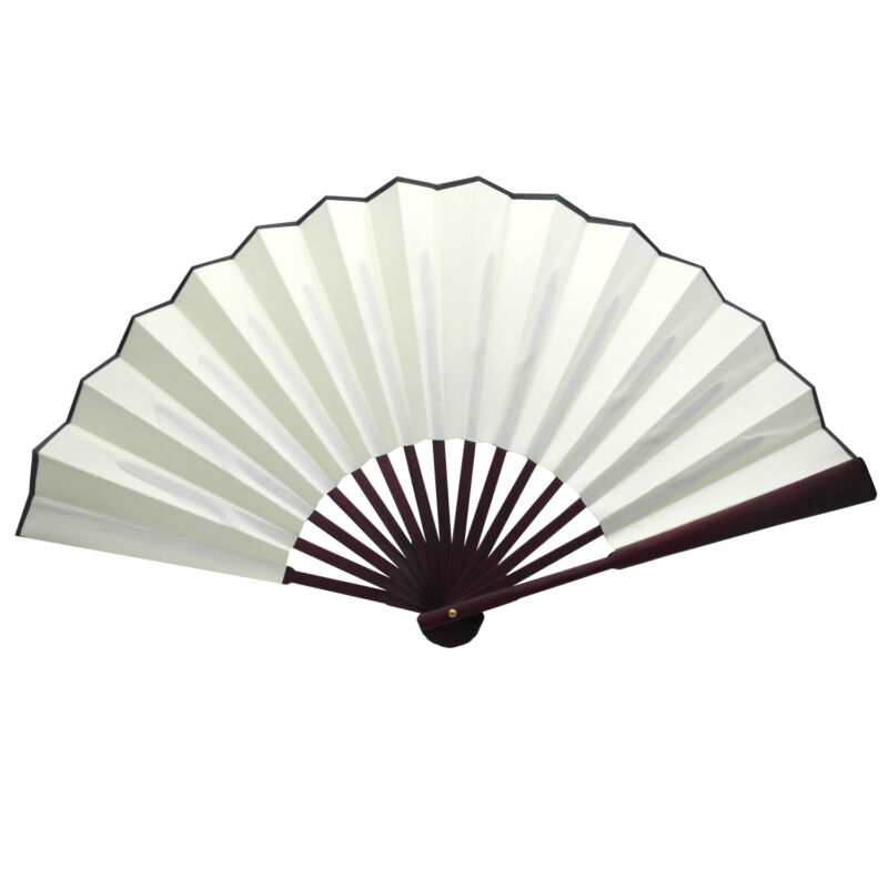 Chinese Nylon-Cloth Handheld Folding Hand Fan Drawing Dancing Performance Ivory
