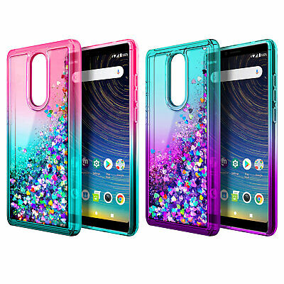 For Coolpad Legacy Case Liquid Glitter Bling Soft Phone Cover +3D Tempered Glass - Glittered Glasses
