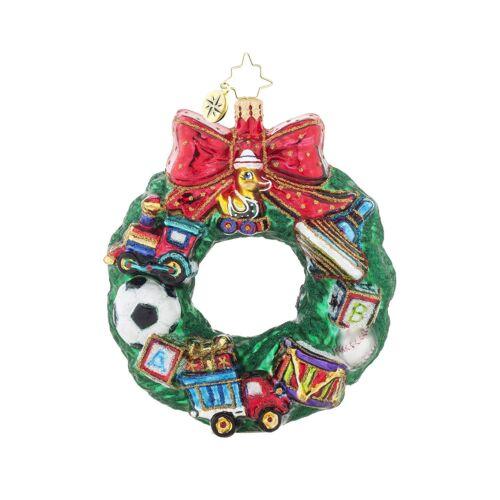 Christopher Radko Toys For Us Wreath Football Teddy Bear Rocket Glass Ornament