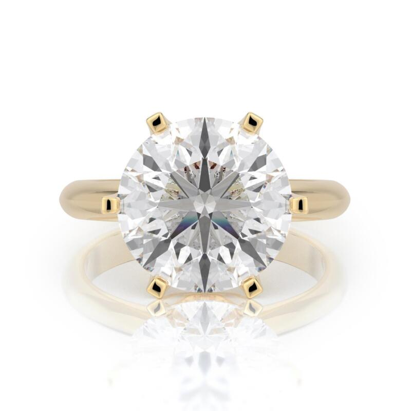 4 Carats G Si1 Round  Diamond Solitaire Engagement Ring 14k Yellow Gold