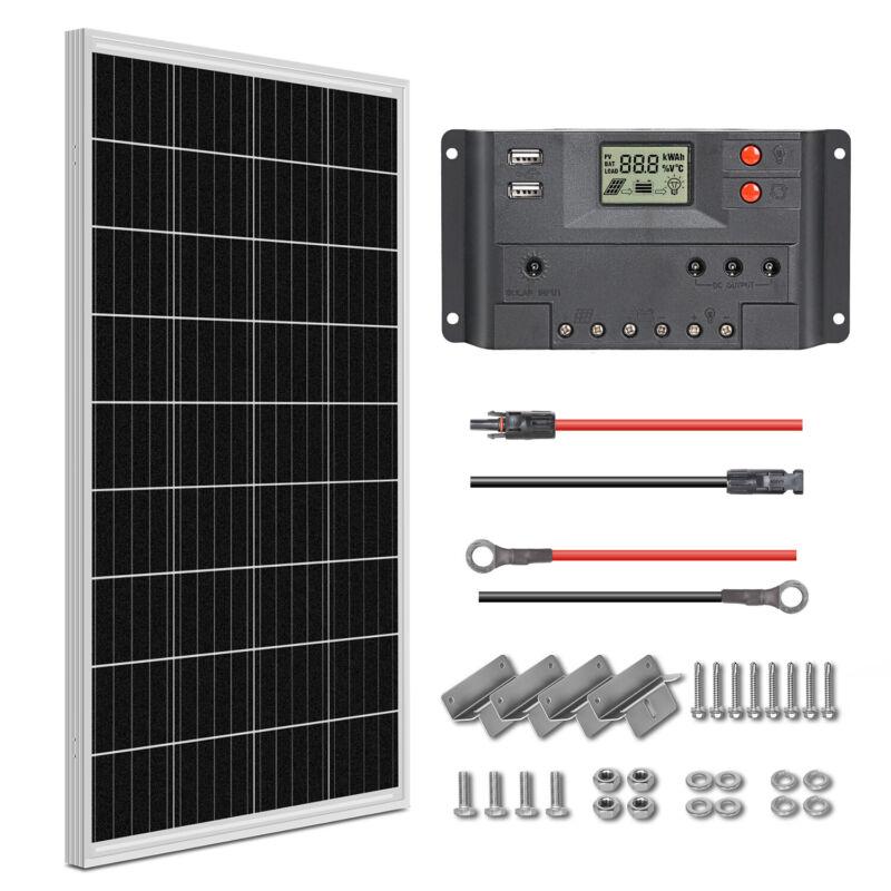 100W Solar Panel Starter Kit 12V Battery Charger with Controller RV Camper Boat
