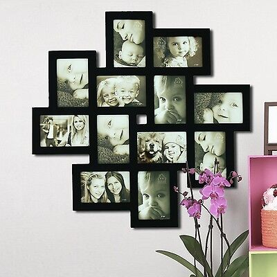 Homebeez Decorative Black Wood Wall Hanging Collage Picture Photo Frame...