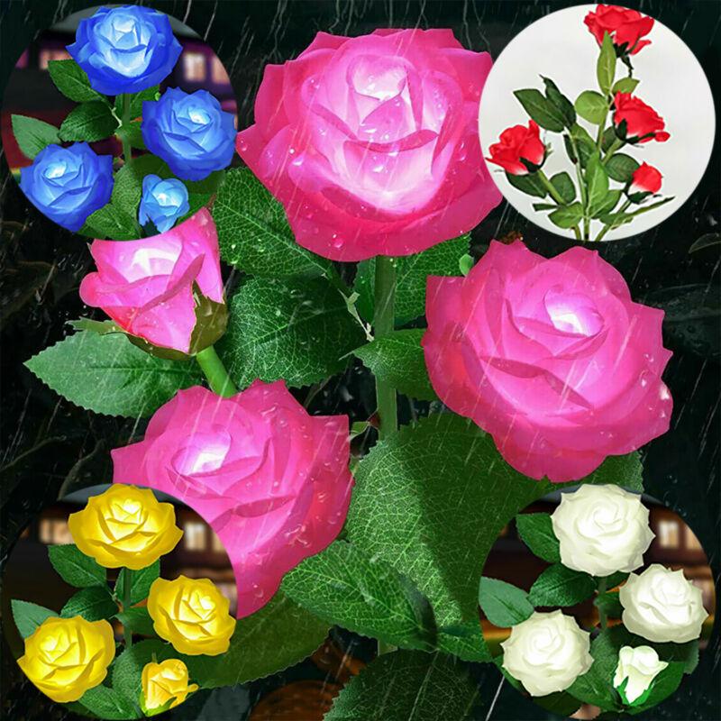 2PACK Solar Power Rose Flower Garden Stake Outdoor landscape Lamp Yard LED Light