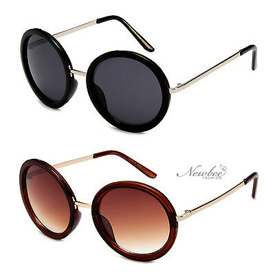 Round Metal Sunglasses Circle Gradient Lens Black Brown White (Black Circle Frame Sunglasses)